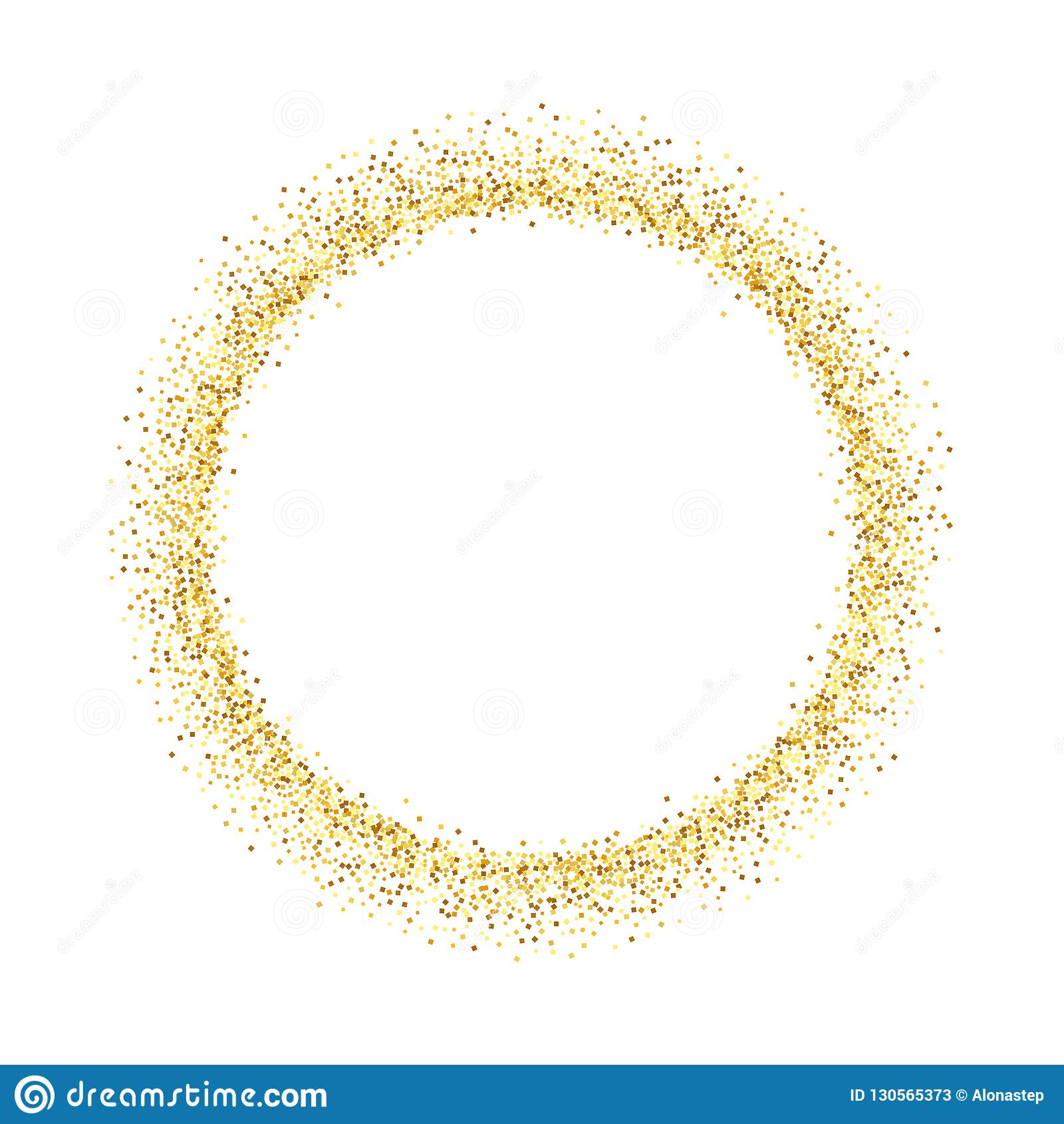 Quadro do brilho do círculo do ouro O confete dourado pontilha circularmente no fundo branco Teste padrão brilhante da textura pa