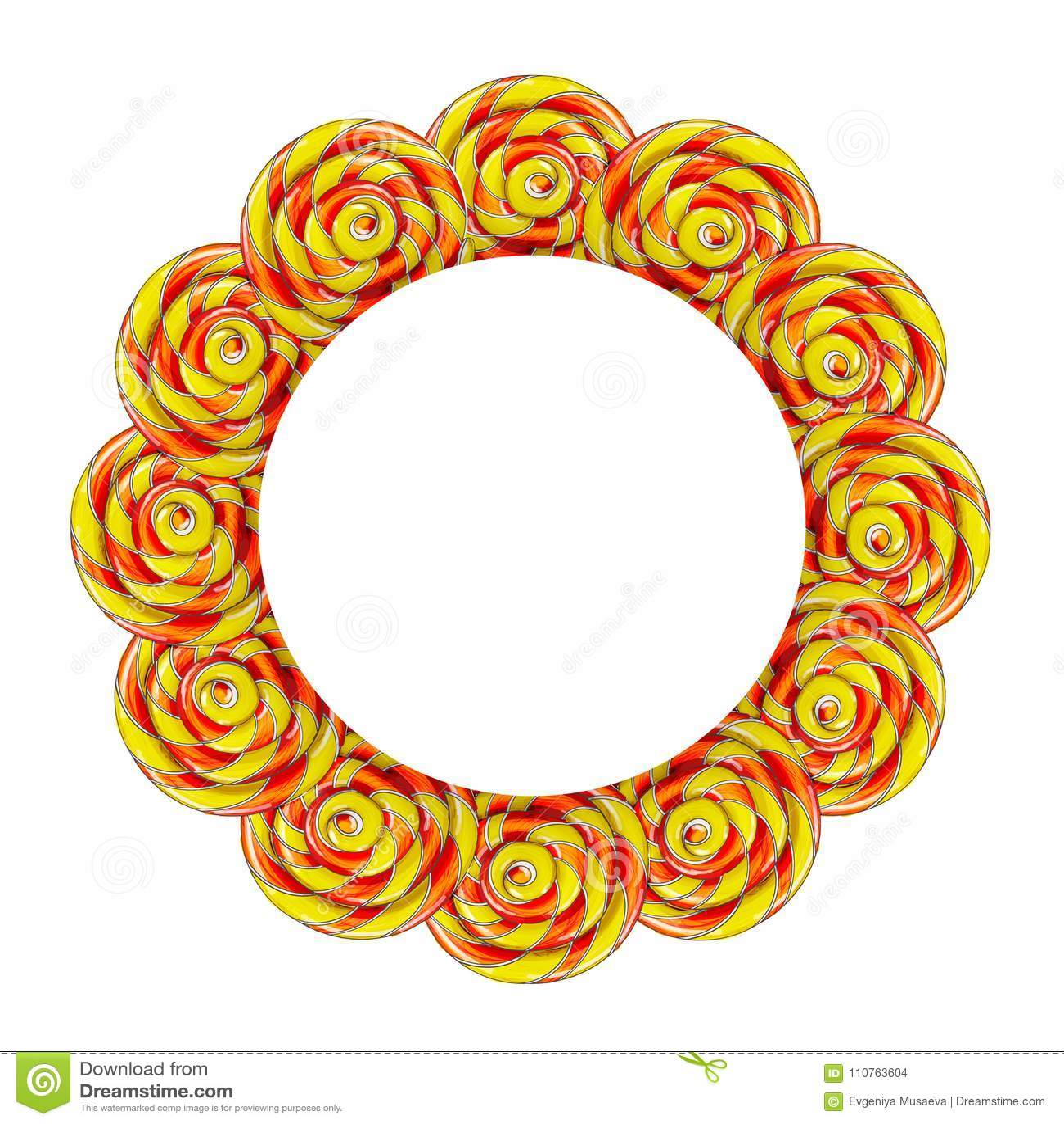 Quadro do círculo feito de doces coloridos do pirulito