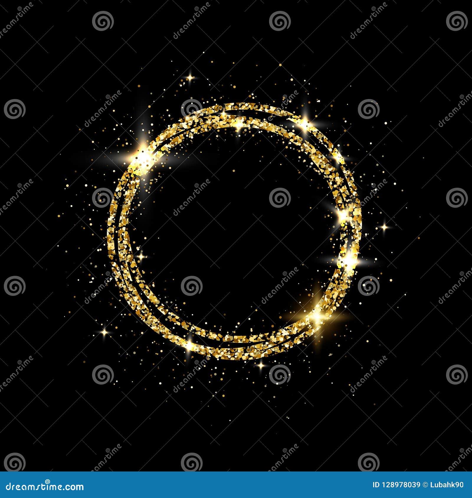 Quadro do círculo do ouro do brilho com espaço para o texto Quadro dourado efervescente no fundo preto Poeira de estrela de brilh