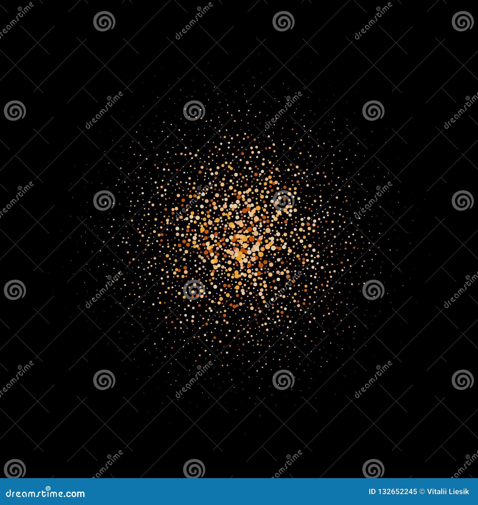 Quadro do círculo do ouro do brilho Quadro dourado efervescente no fundo preto Beira festiva de brilho brilhante da poeira de est