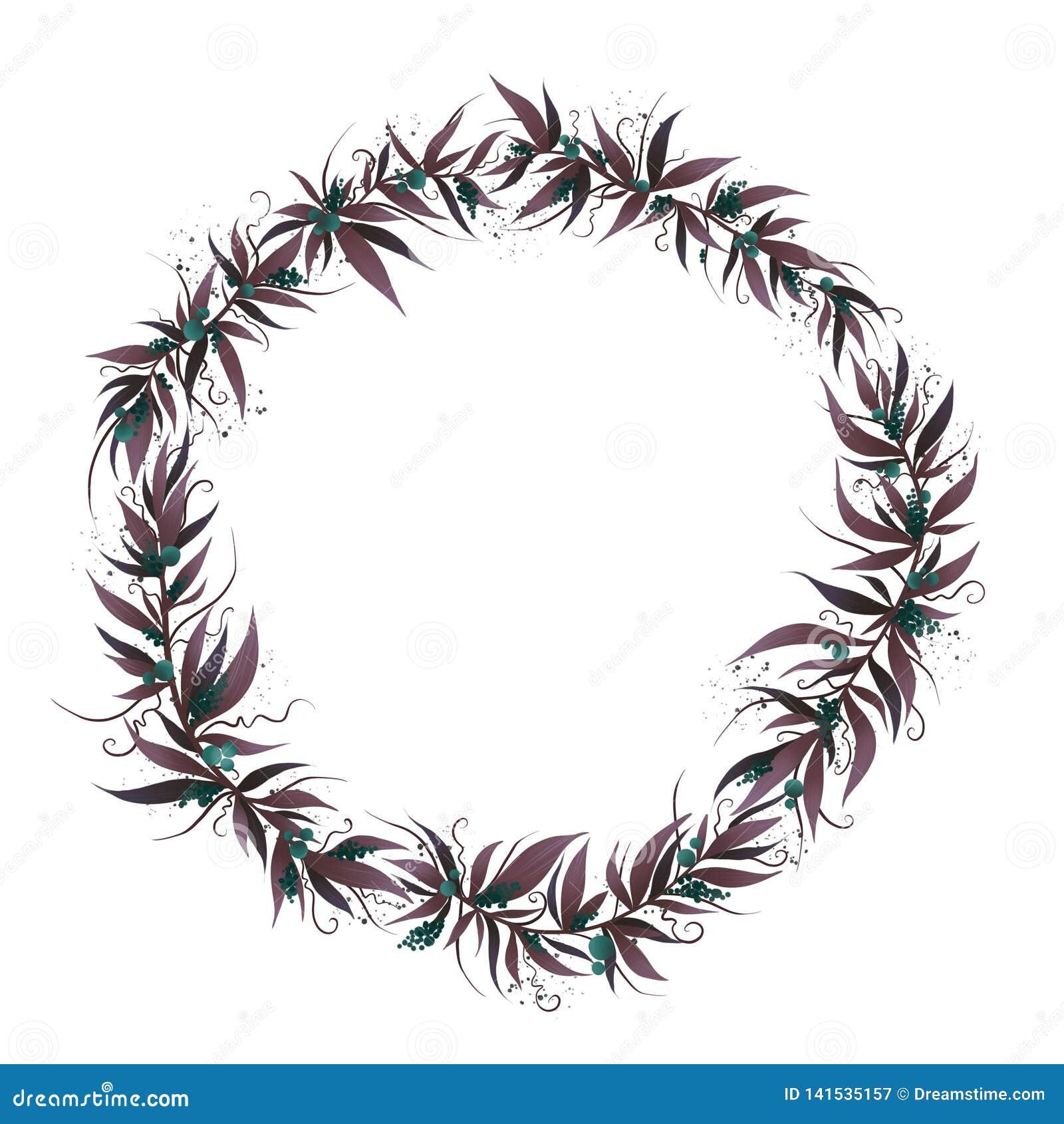 Quadro do Natal com folhas e baga