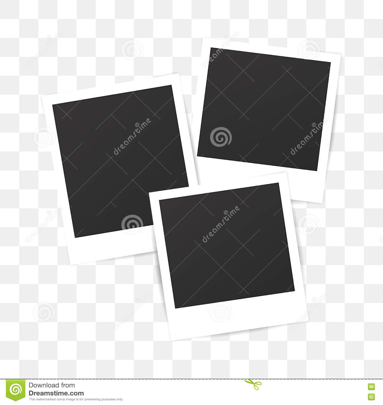 Quadro do polaroid da foto do grupo vazio no fundo transparente