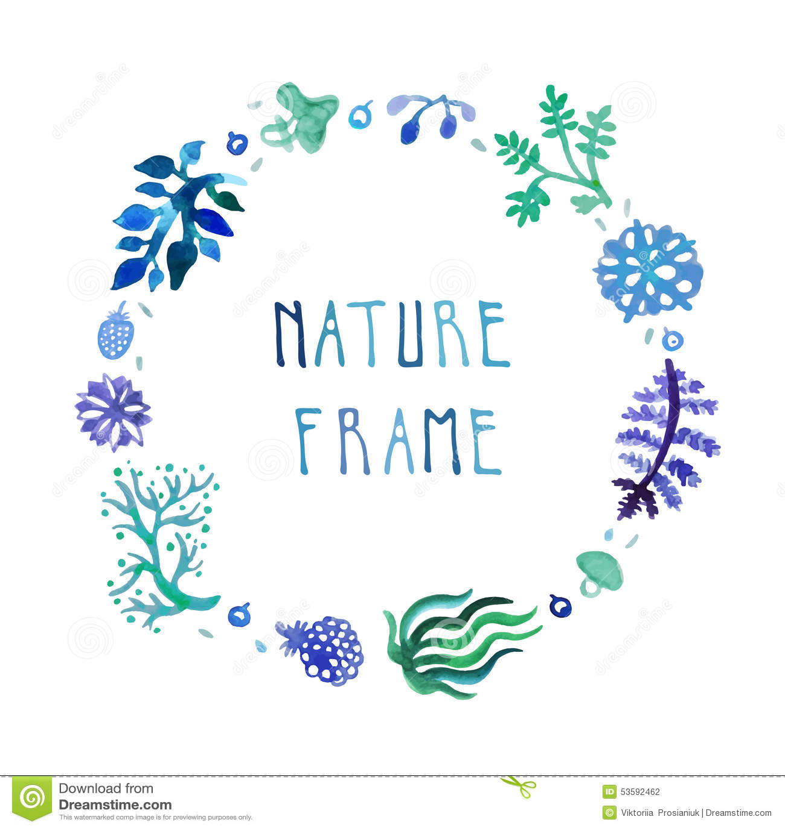 Quadro do vetor da natureza da aquarela com texto escrito à mão com flores, bagas e plantas