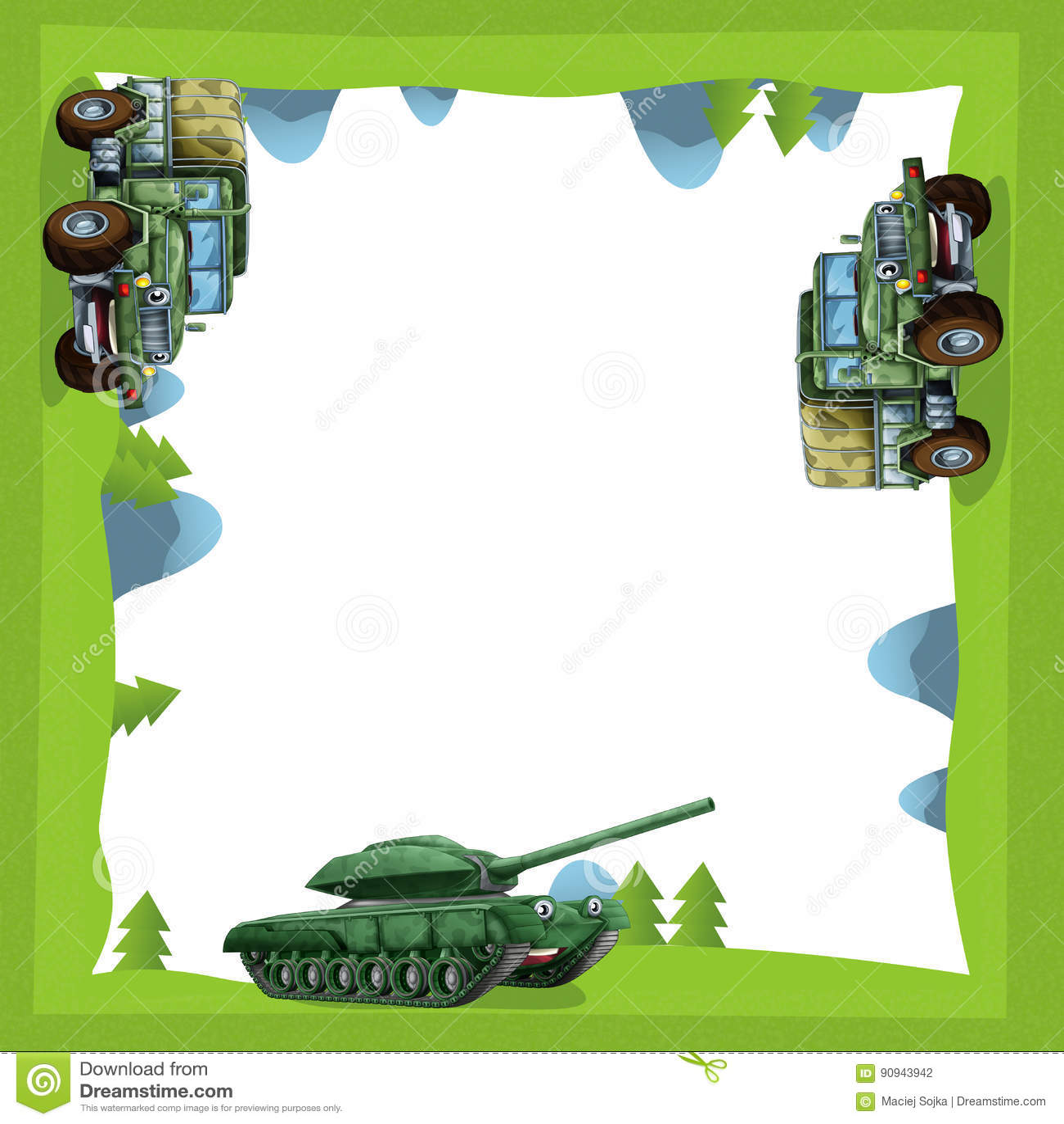 Quadro Dos Desenhos Animados De Um Caminhão E De Um Tanque Militares ...