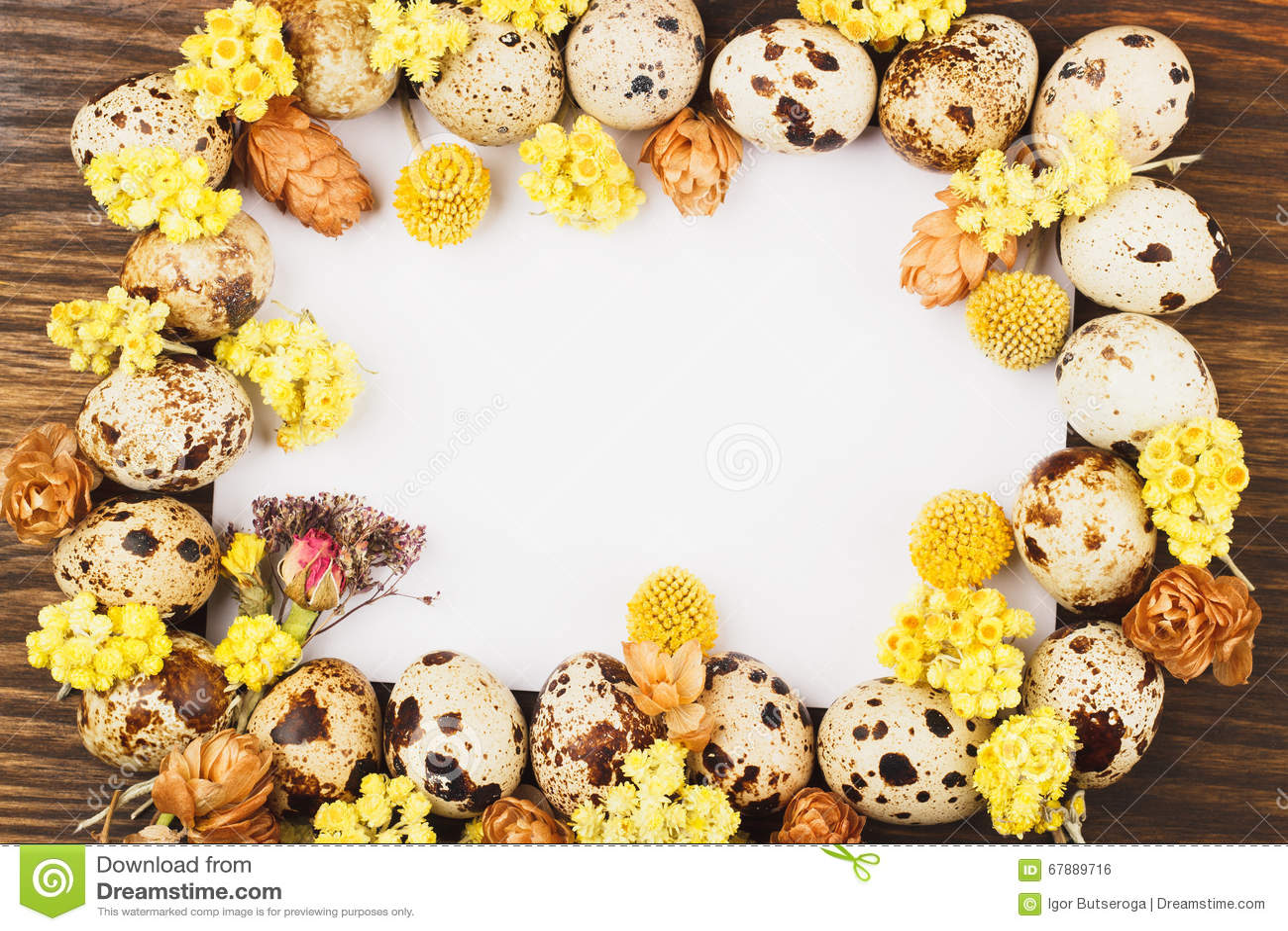 Quadro dos ovos e das decorações de codorniz