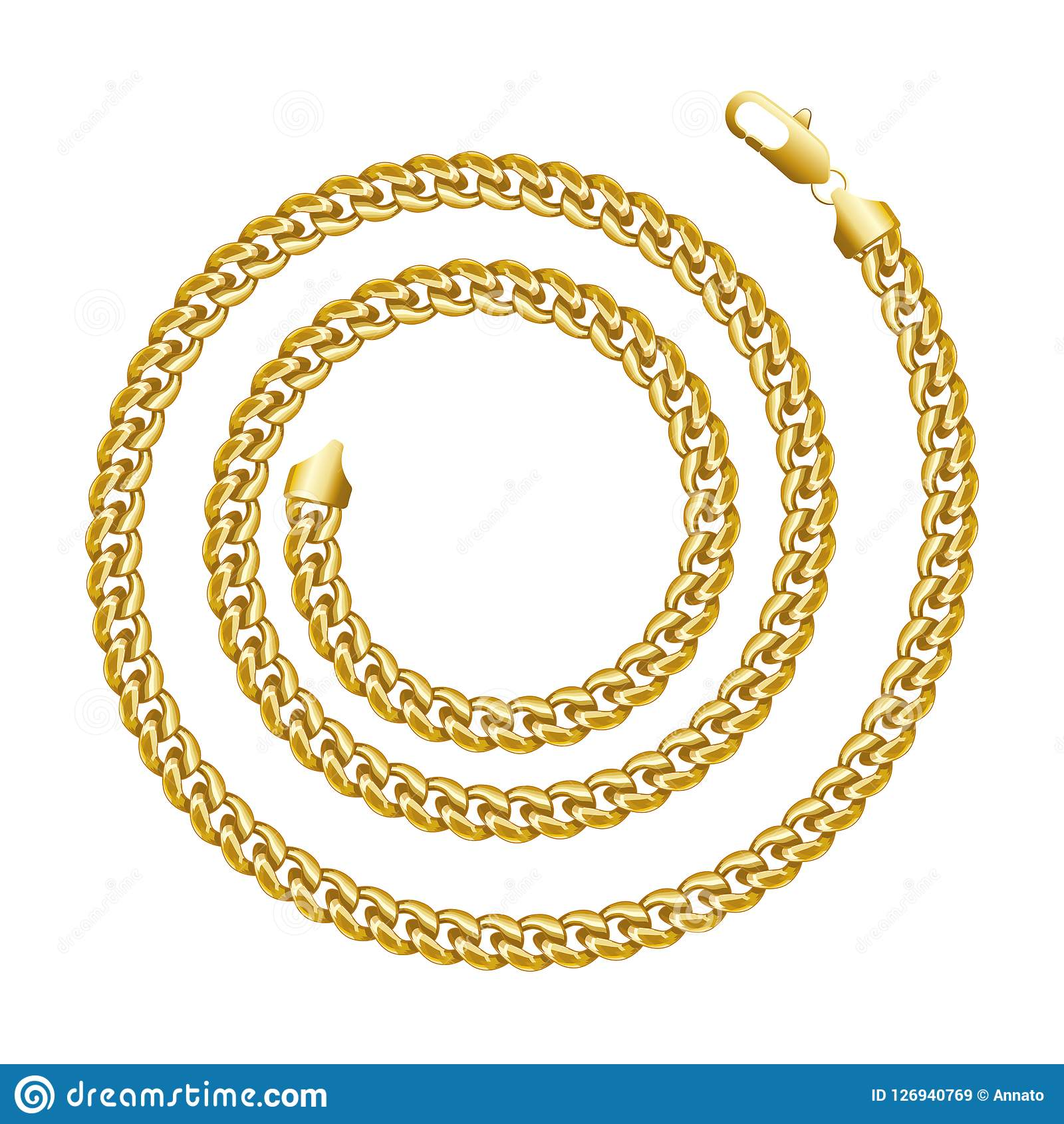 Quadro espiral redondo da beira da corrente dourada Forma do círculo da grinalda