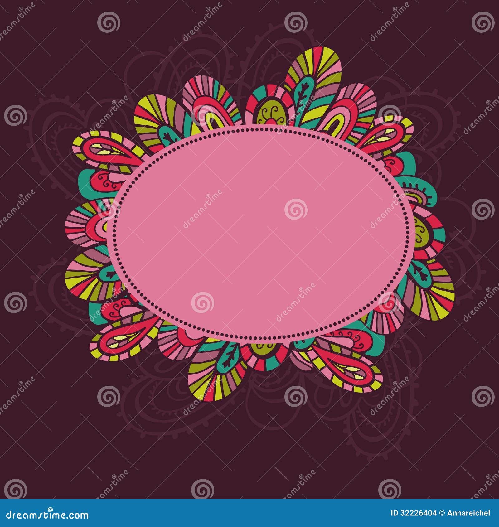 Download Quadro exótico tirado mão ilustração stock. Ilustração de flor - 32226404