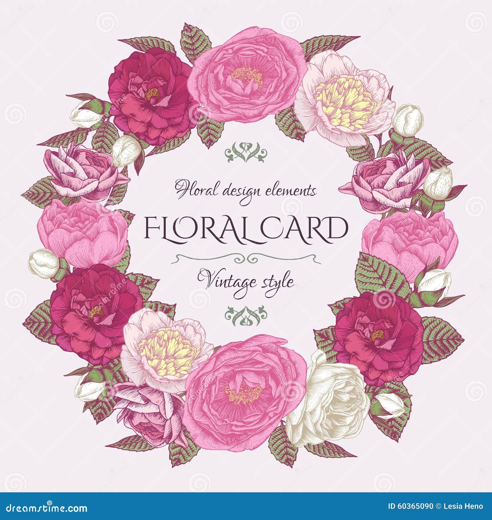 Quadro floral com rosas e peônias Cartão do convite do vintage no estilo chique gasto