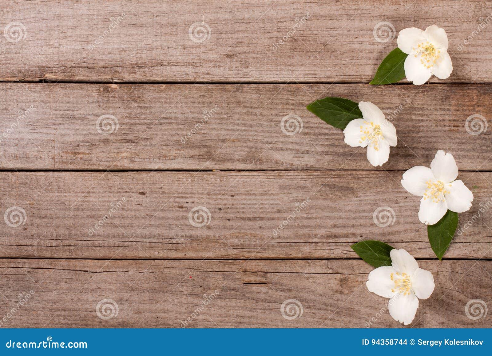 Quadro Flores Do Jasmim No Fundo De Madeira Velho Com Espaço Da