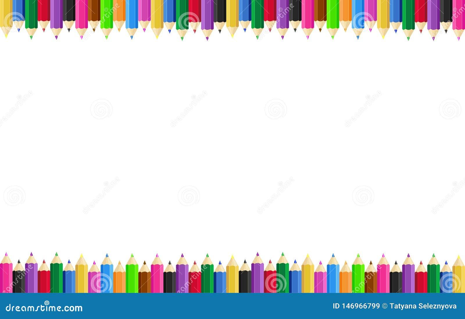 Quadro horizontal do cartaz com os l?pis coloridos nas bordas no fundo Ilustra??o do vetor