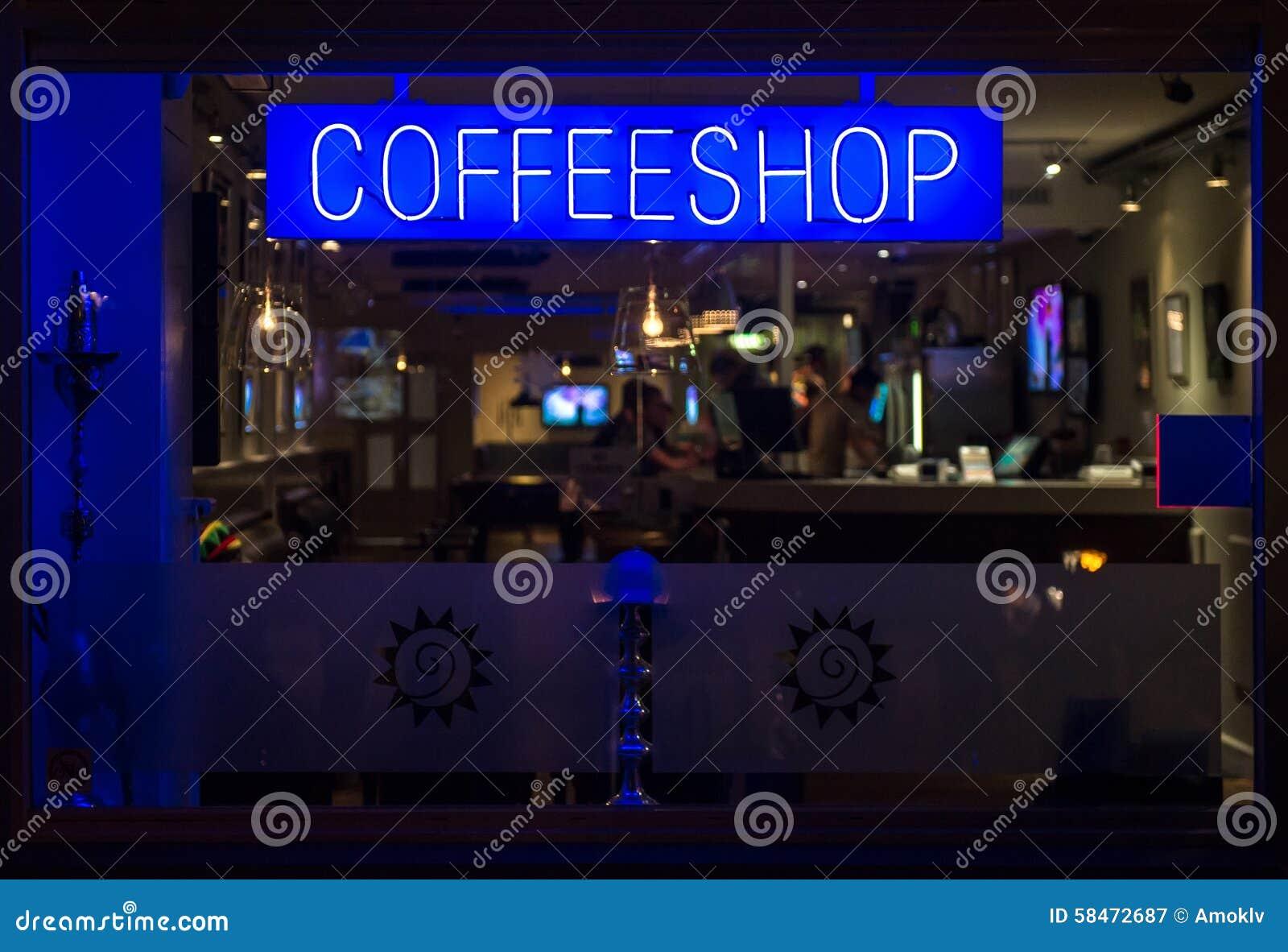 Quadro indicador de néon de Coffeeshop na noite