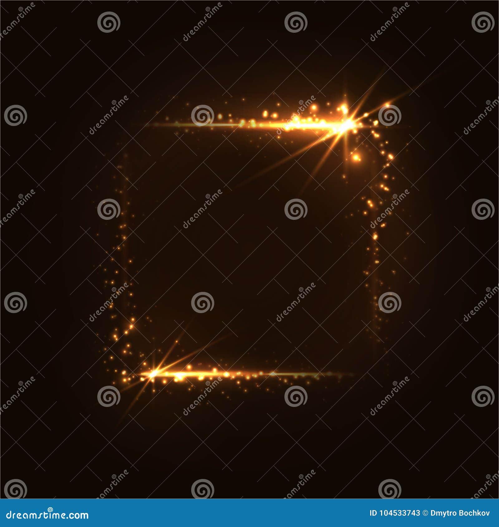 Quadro luminoso do ouro Retângulo dourado de brilho em um fundo escuro
