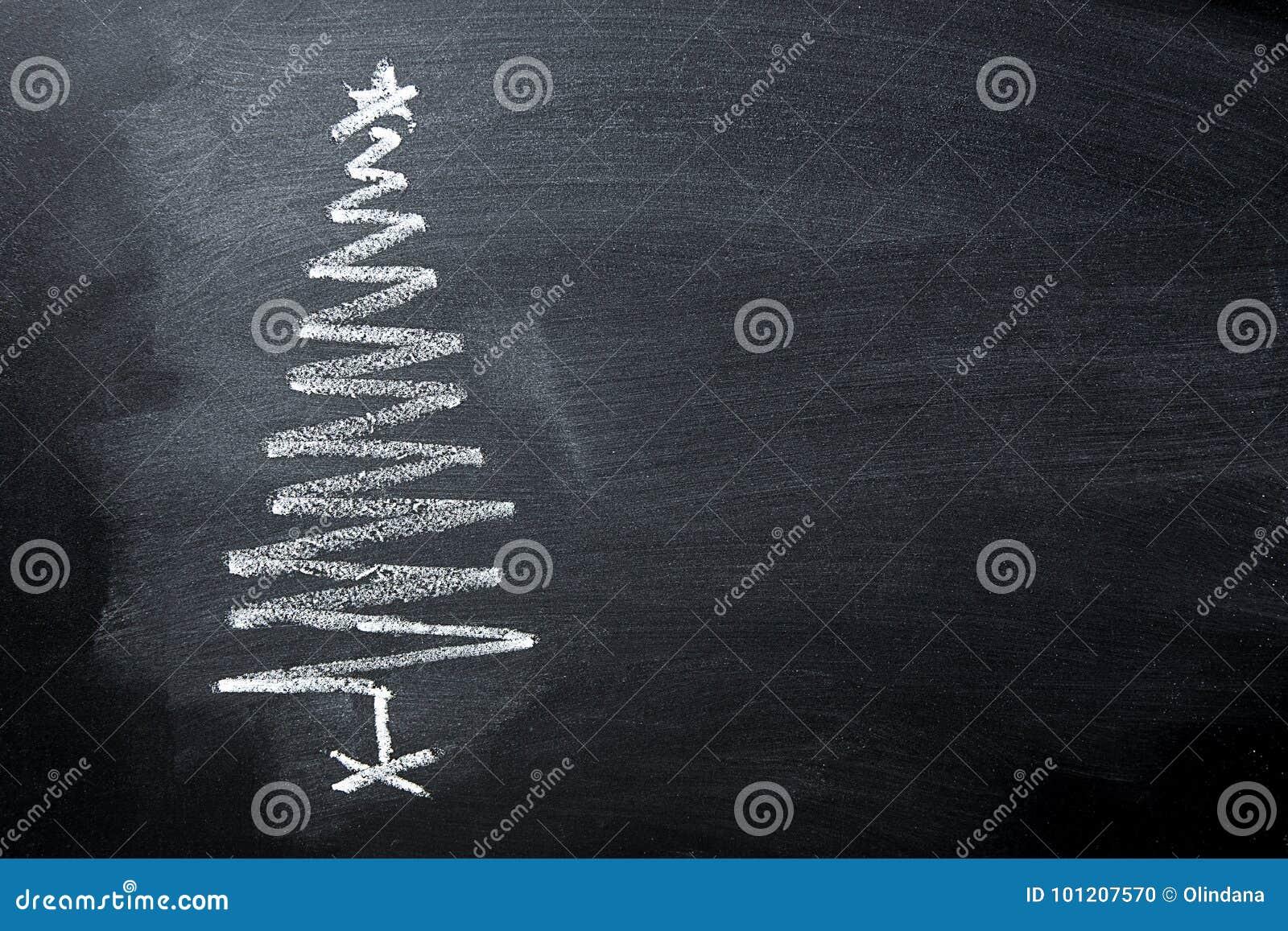 Quadro-negro tirado mão do giz da árvore de Natal da garatuja no formulário espiral Bandeira do cartaz do cartão do ano novo