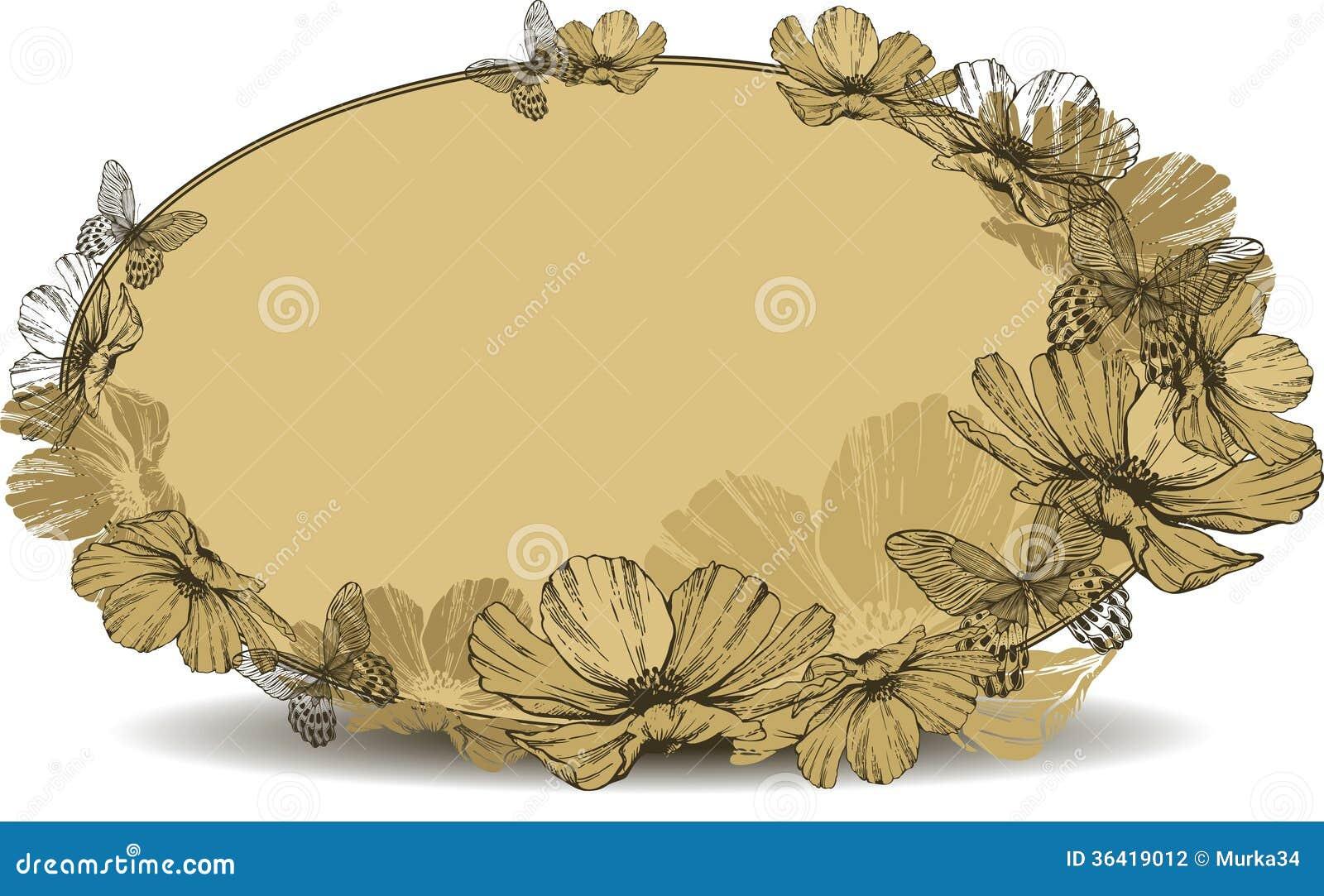 Quadro oval do vintage com flores e borboletas Illustra do vetor