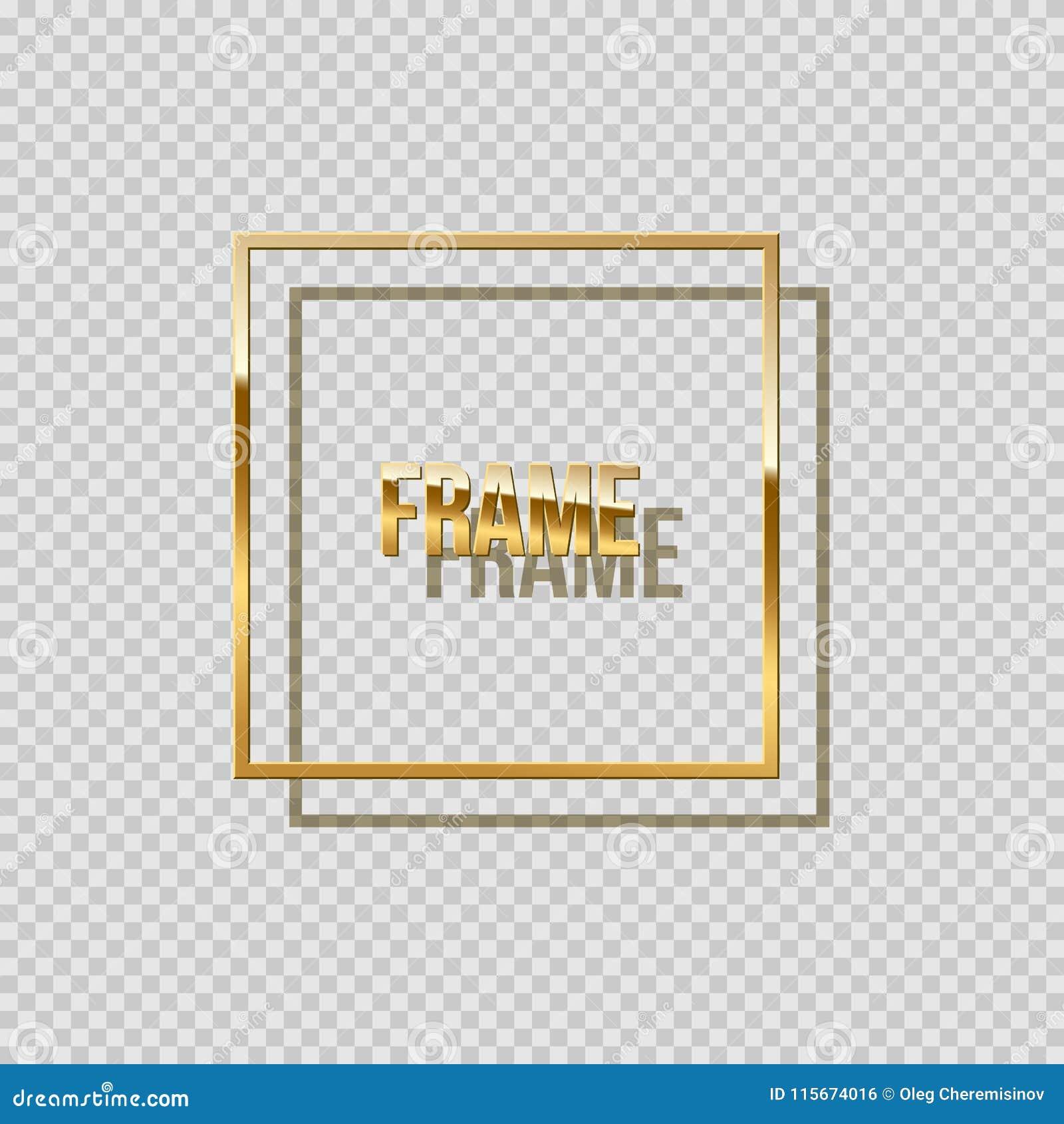 Quadro quadrado dourado com a sombra isolada no fundo transparente Elemento do projeto do vetor