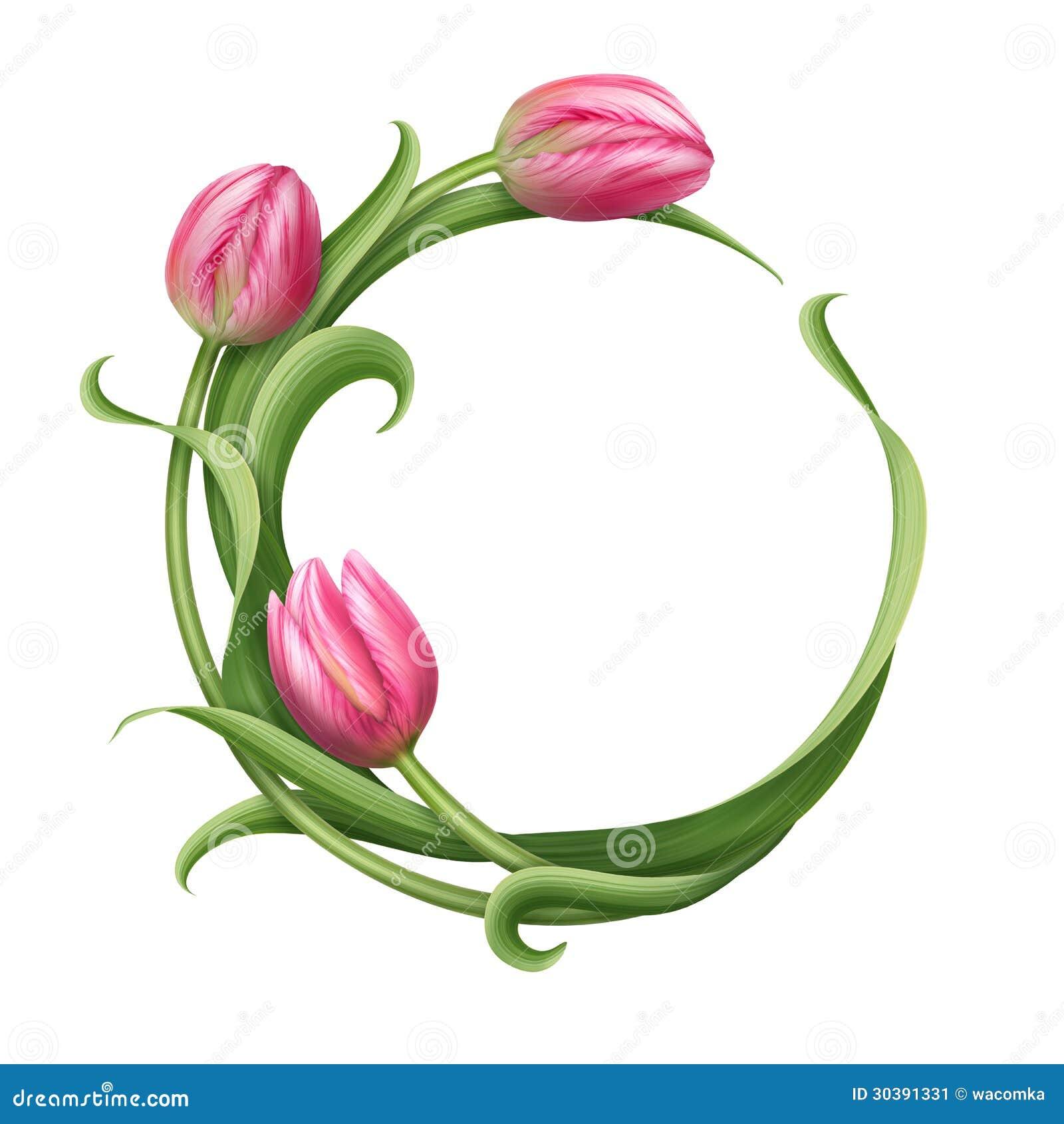 Quadro redondo com ilustração cor-de-rosa das tulipas
