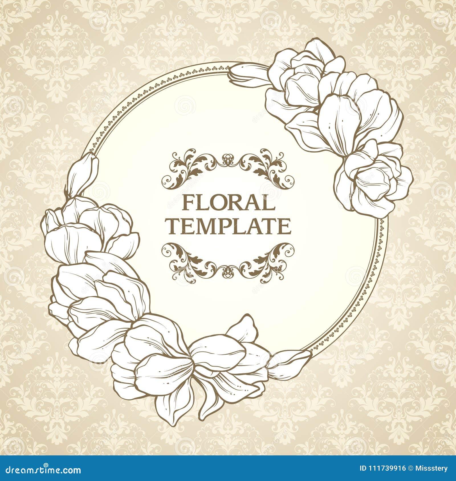 305b3277e Quadro redondo floral do vintage e fundo modelado O projeto elegante do  convite do casamento das flores, cartão, ata o molde ornamentado do vetor