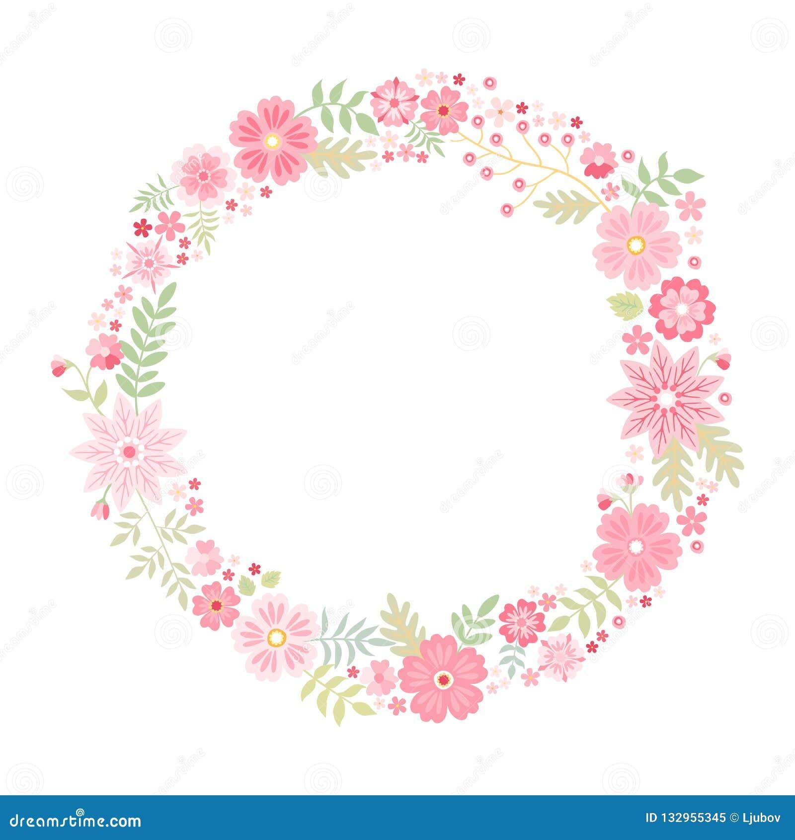 Quadro redondo floral romântico com as flores cor-de-rosa bonitos Grinalda bonita isolada no fundo branco Molde do vetor