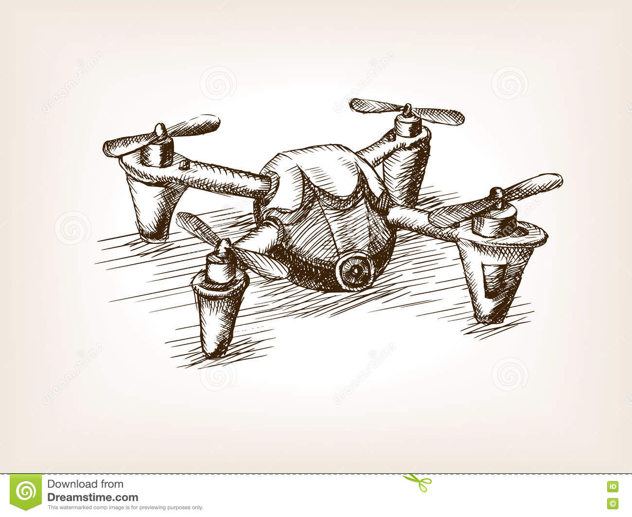 Quadrocopter Drone Sketch Vector Illustration