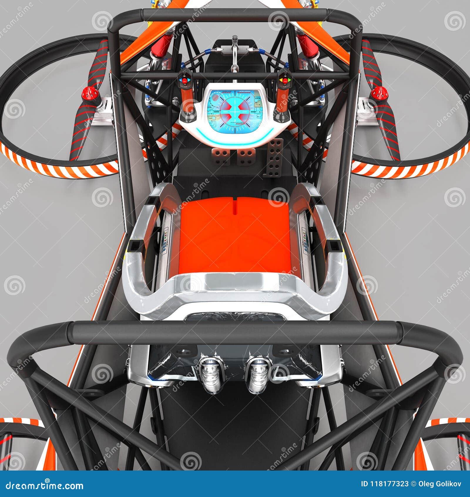 Quadrocopter monoplaza compacto para el uso privado Pequeño vehículo urbano con un motor eléctrico