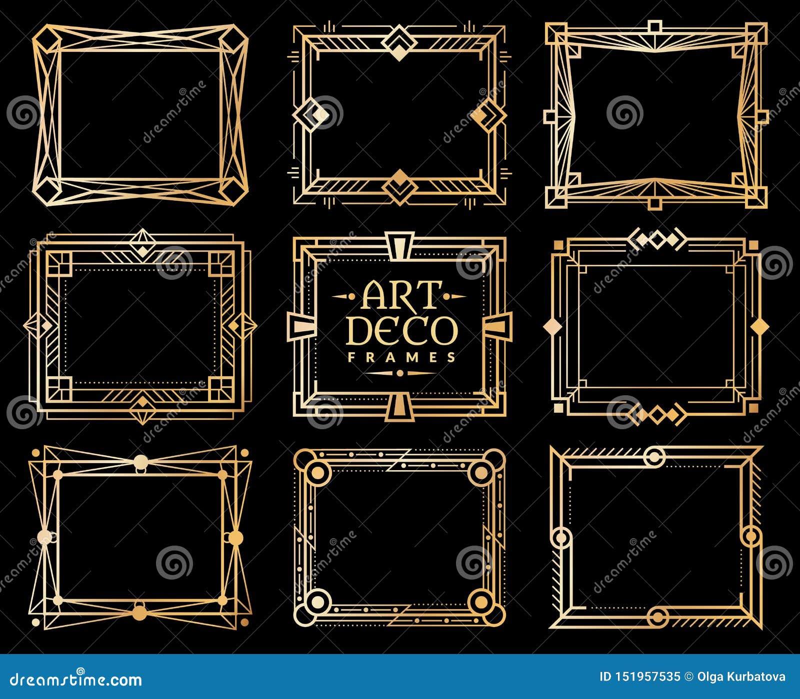 Quadros do art deco Beira gatsby do quadro do deco do ouro, linha romântica dourada teste padrão do convite projeto luxuoso retro