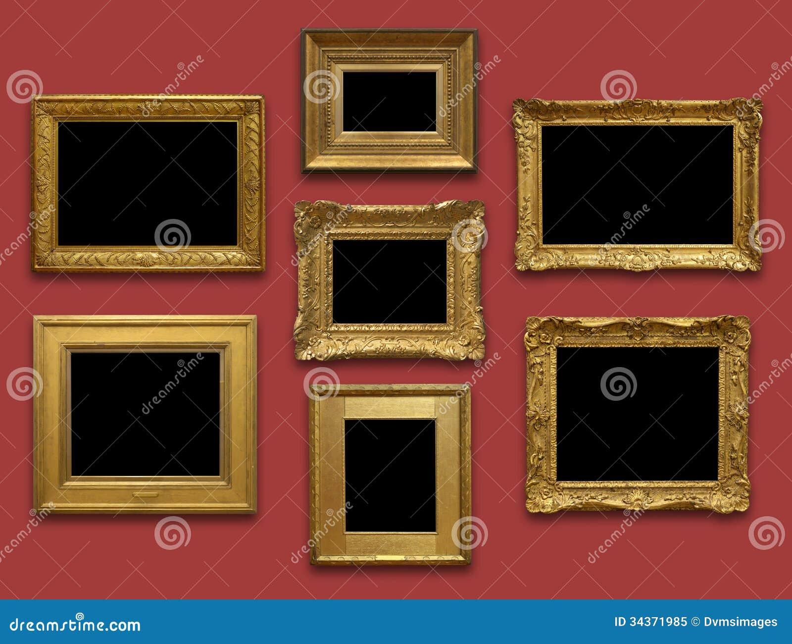 Quadros do ouro da parede da galeria