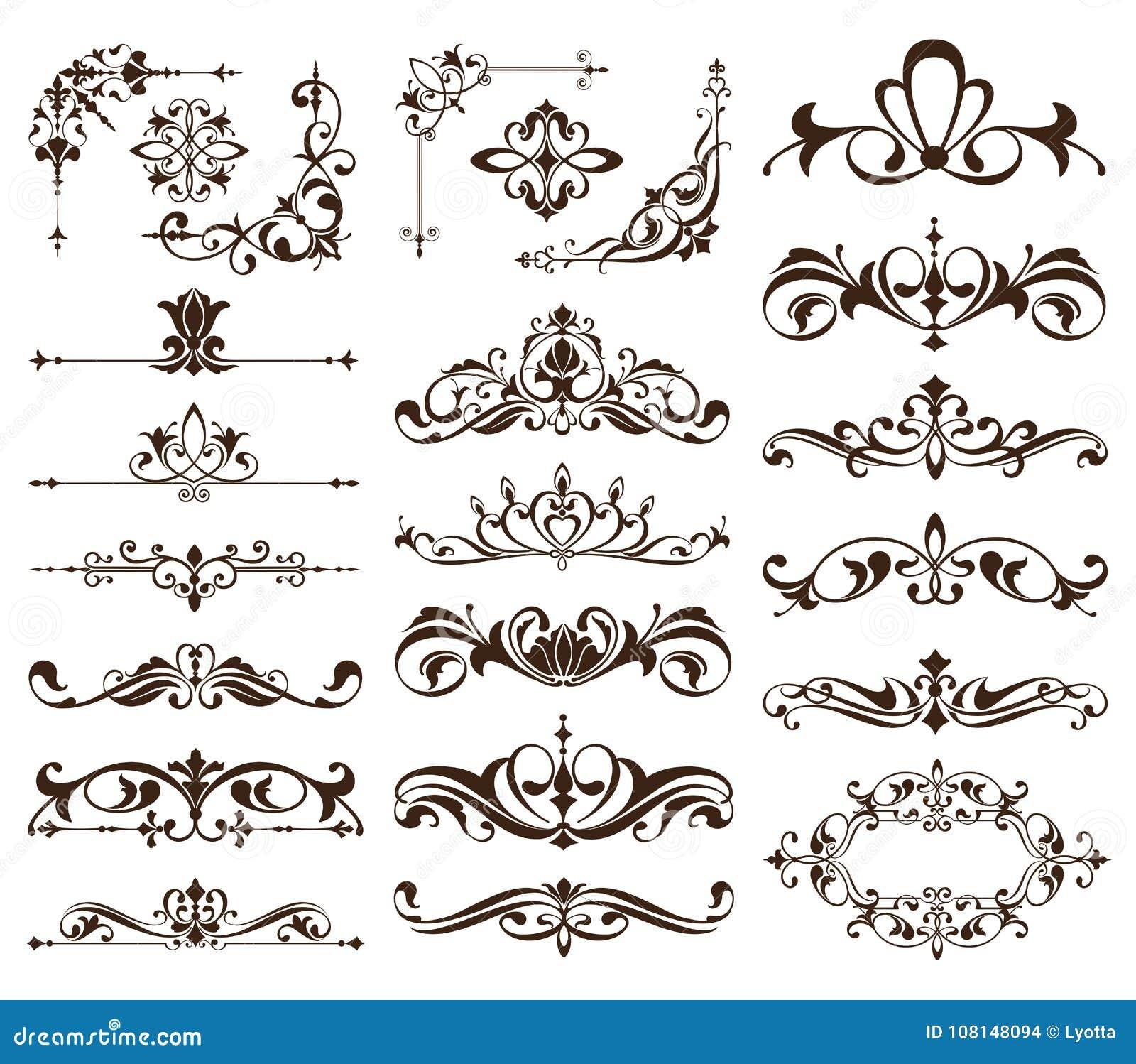 Quadros do vintage, cantos, beiras com redemoinhos delicados em Art Nouveau para a decoração e trabalhos do projeto com o st flor