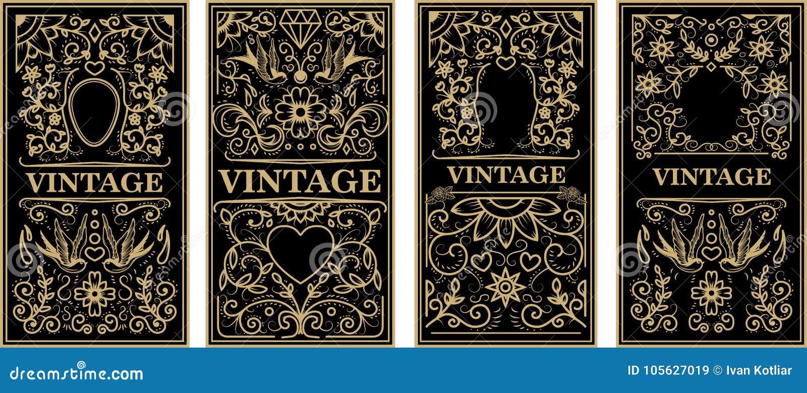 Quadros do vintage no estilo dourado no fundo escuro