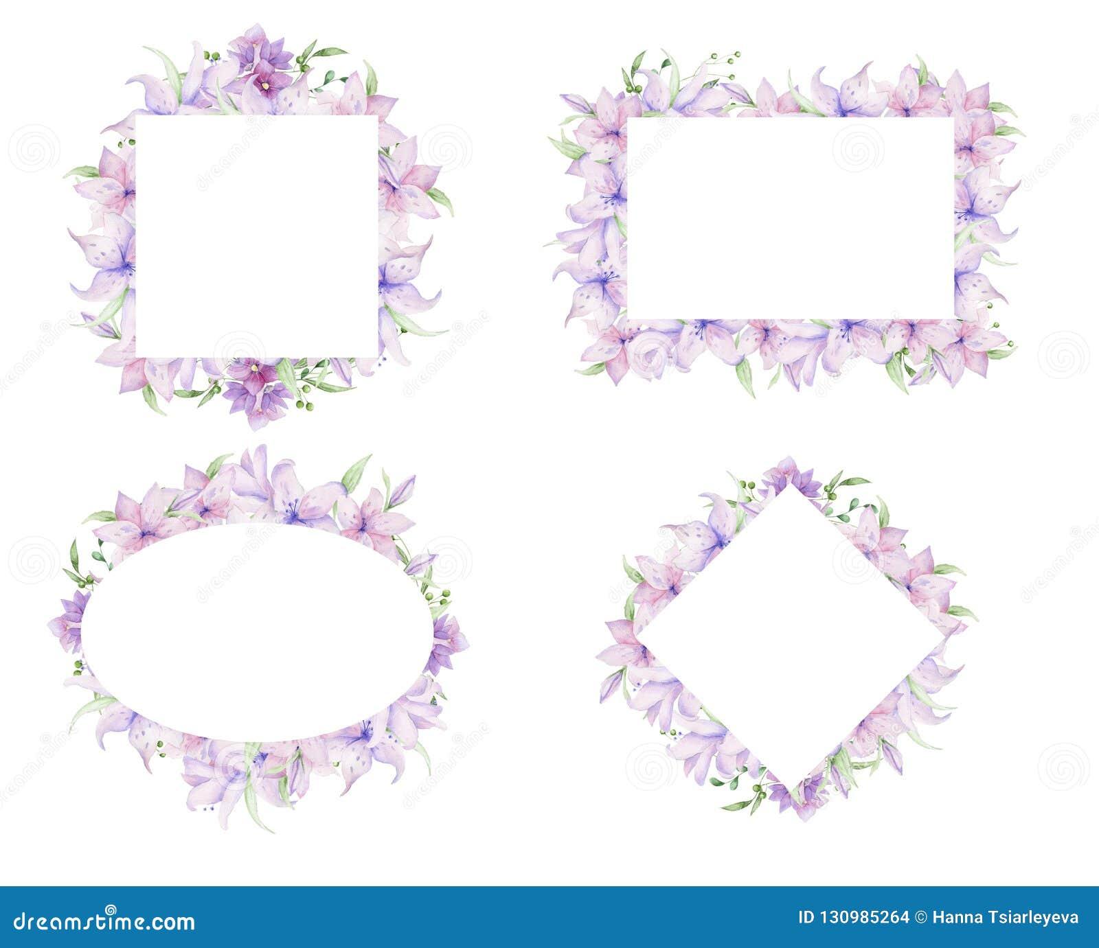 Quadros florais com flores cor-de-rosa e as folhas decorativas Projeto do convite da aquarela horizontal Fundo para salvar a data