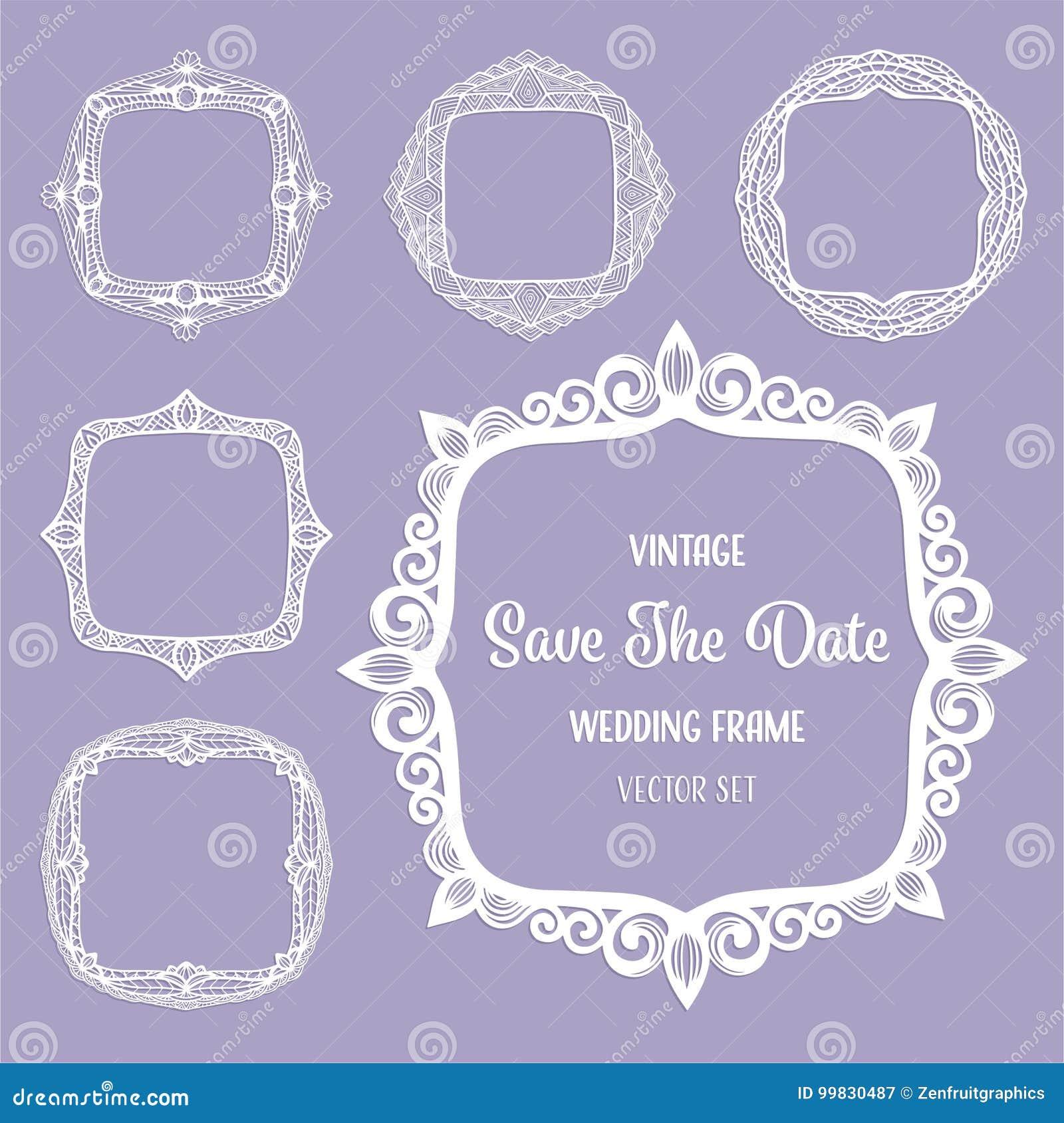Quadros quadrados do vintage, beiras do art deco para o cartão elegante do convite do casamento, texto, foto Grupo do corte do la