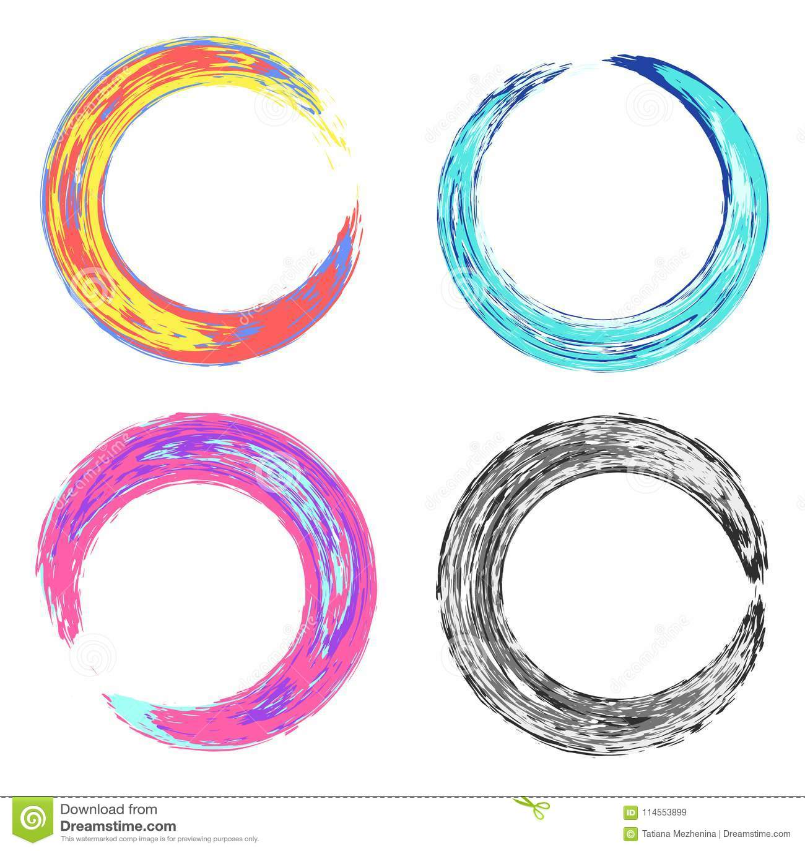Quadros sujos redondos coloridos psicadélicos das texturas