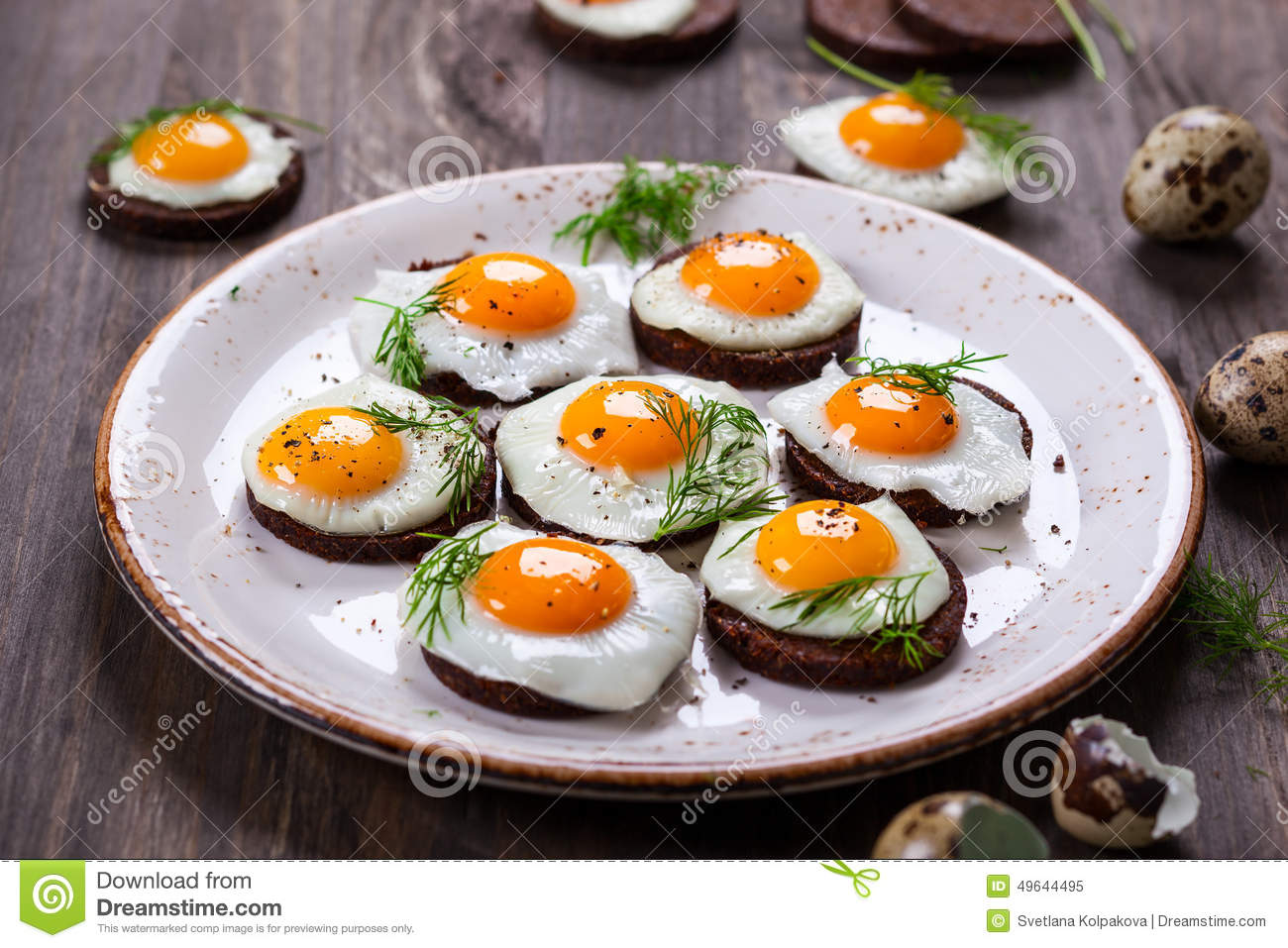 Quail egg canapes stock image image of dish dill for Breakfast canape