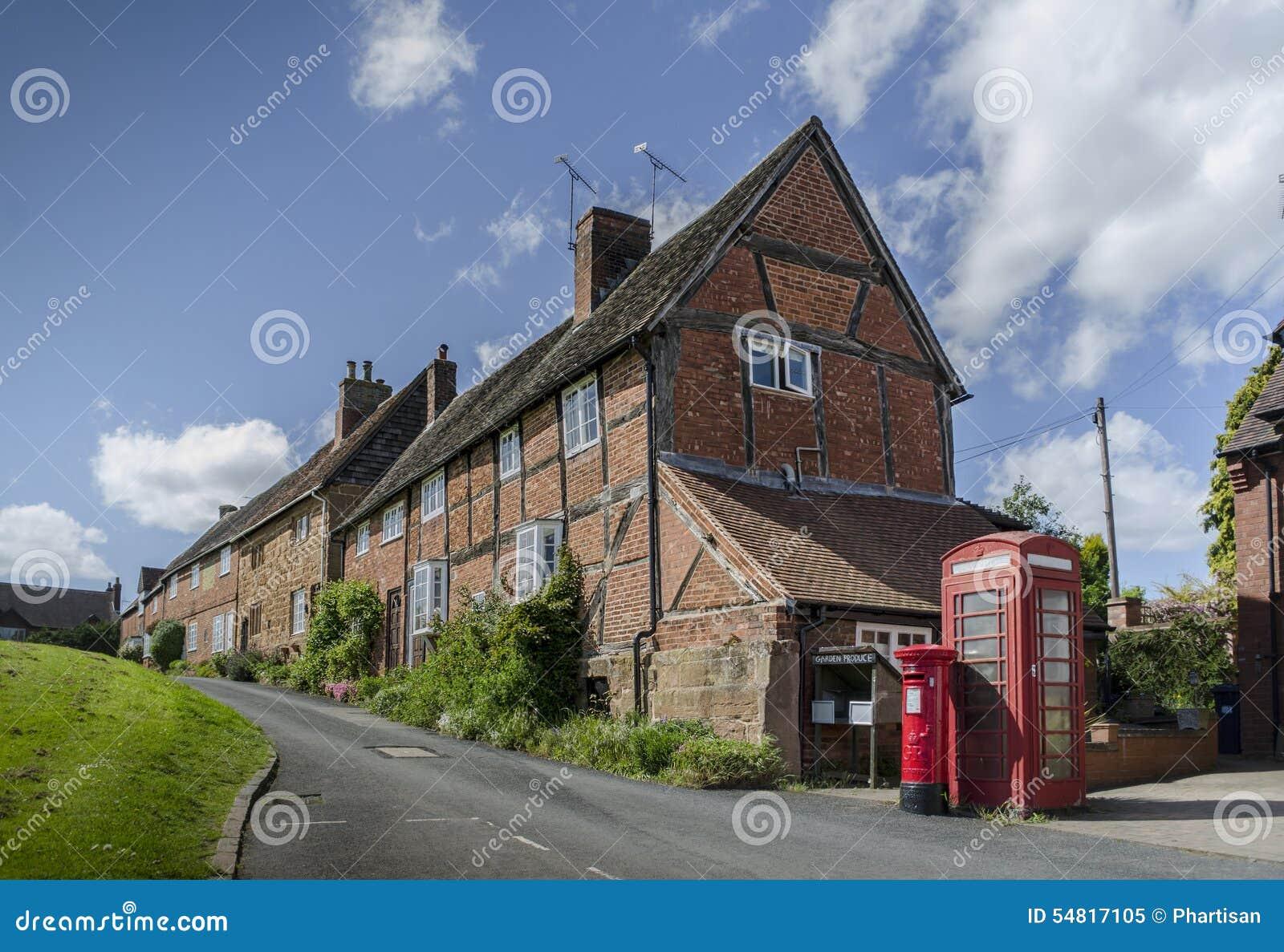 Quaint Charming British Village Scene Stock Photo Image