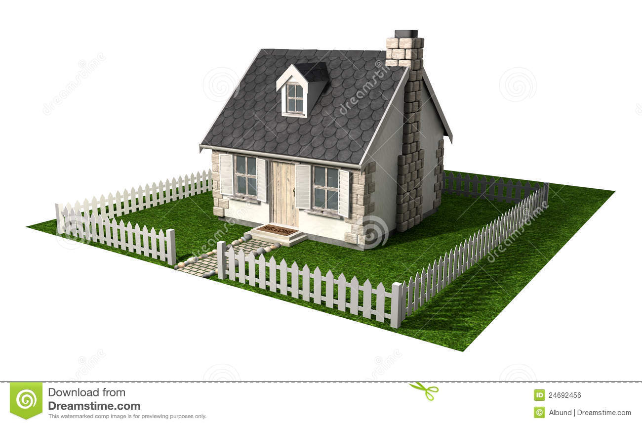 Quaint Cottage House With Garden And Picket Fence Stock