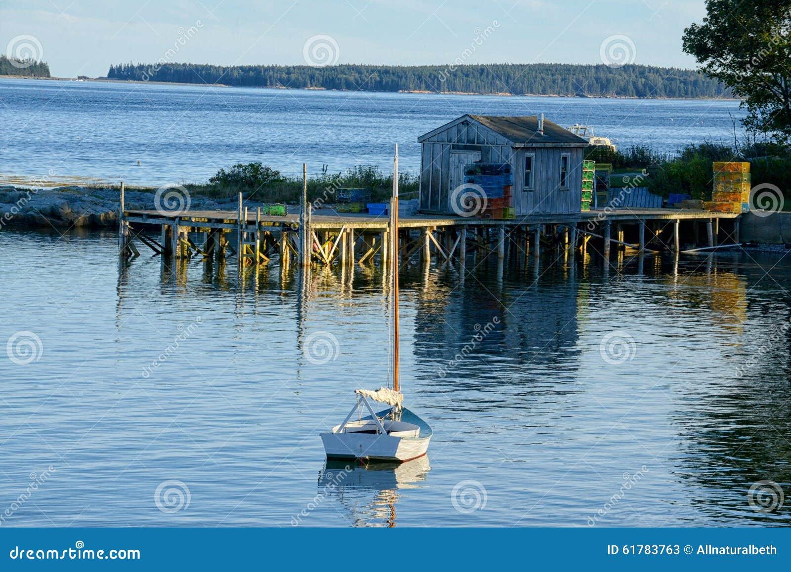 Quaint fishing village in maine stock photo image 61783763 for Acadia national park fishing