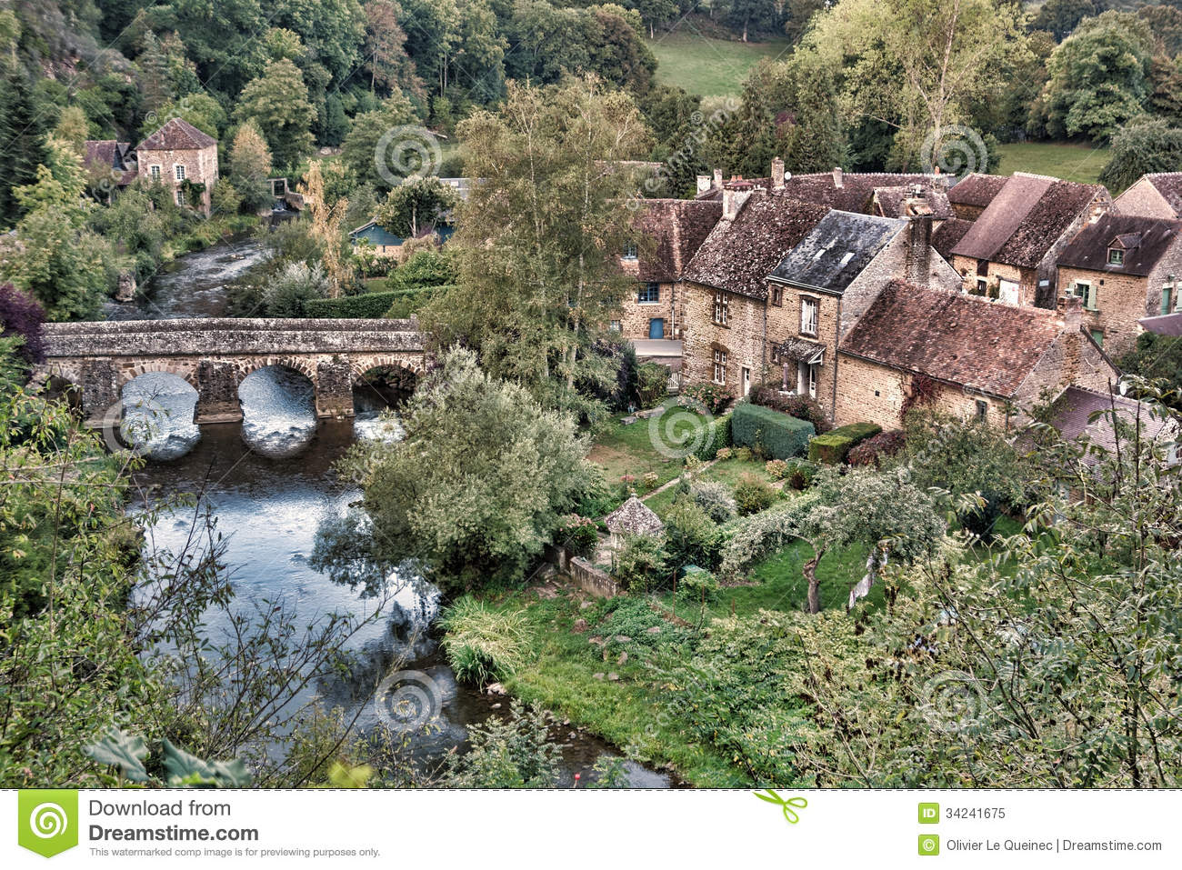 Quaint rural french country village scenic view stock for French countryside real estate