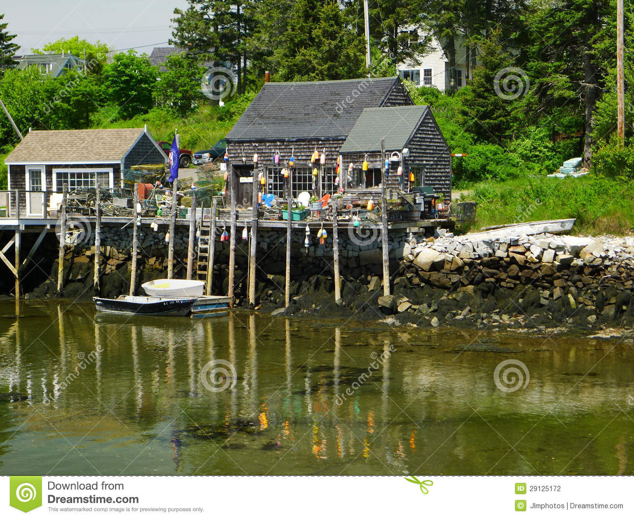 Quaint Small New England Lobsterman Village Stock Photography - Image: 29125172