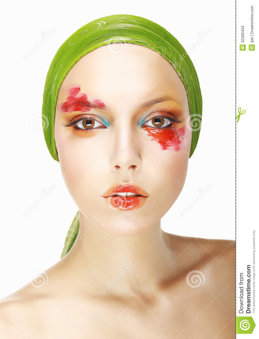 Pretty Sensual Spectacular Woman's face with bright Make up
