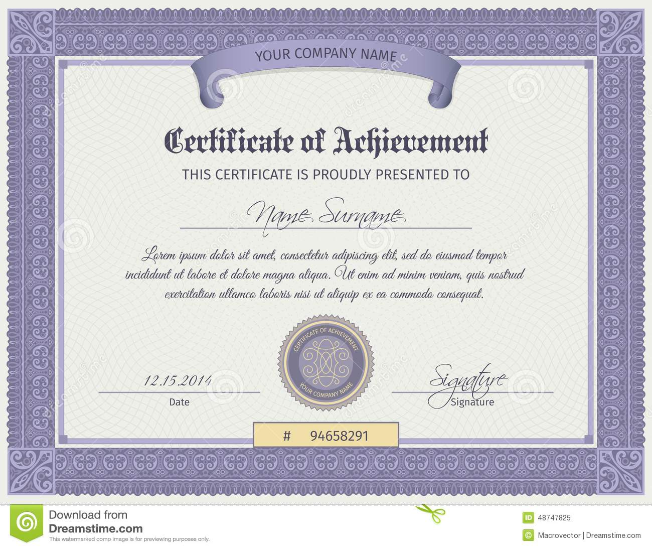 Blank diploma certificate template