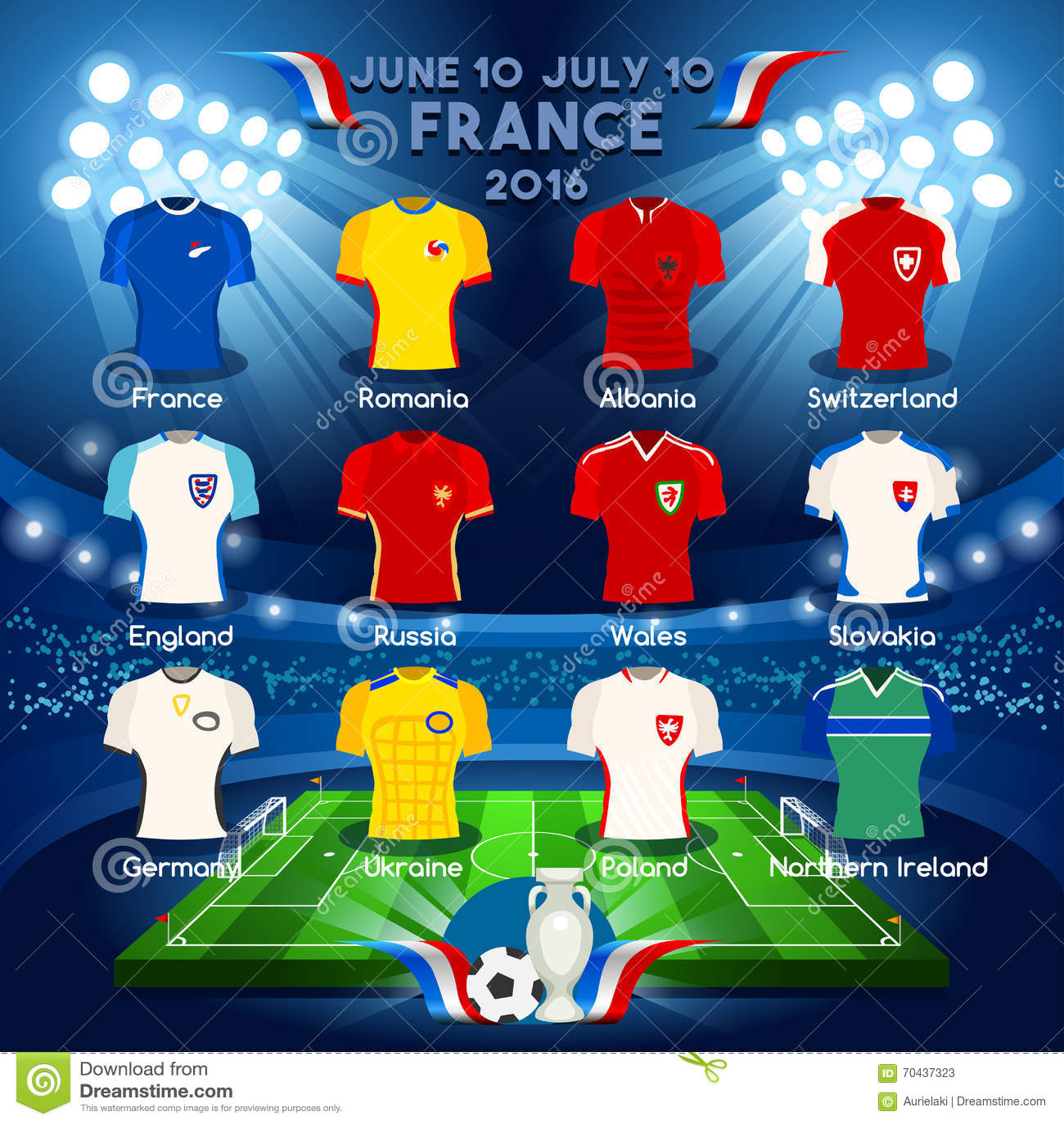 Qualified Teams EURO 2016 Stock Vector