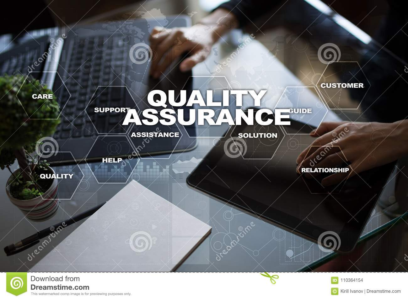 Quality assurance concept on the virtual screen business concept royalty free stock photo download quality assurance concept on the virtual reheart Images