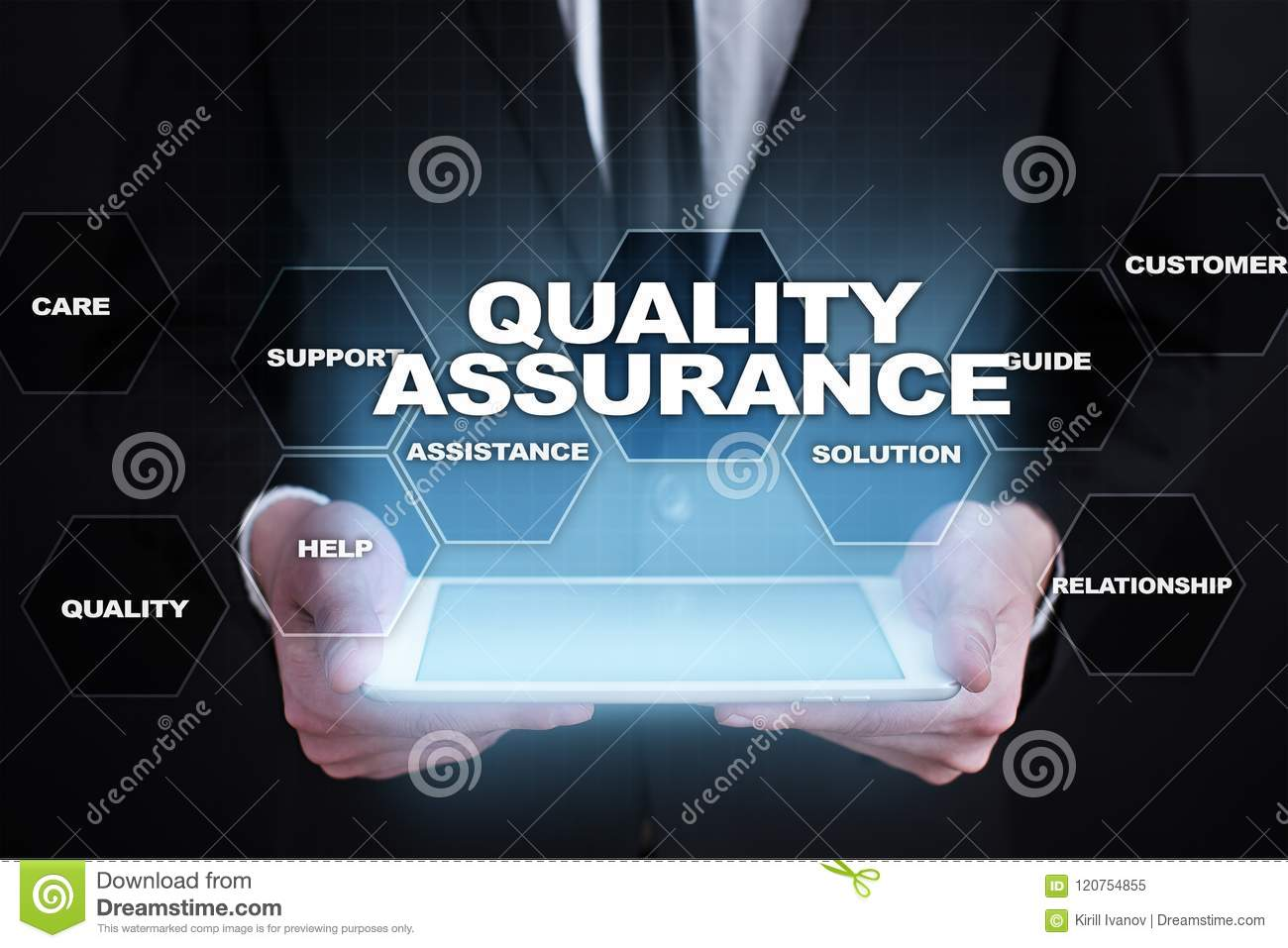 Quality assurance concept on the virtual screen business concept download comp reheart Images