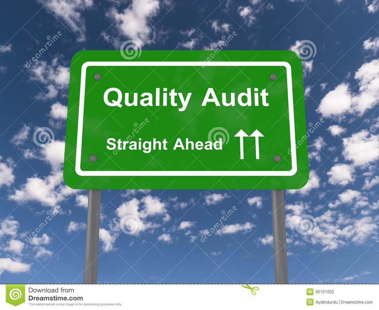 Quality audit straight ahead sign