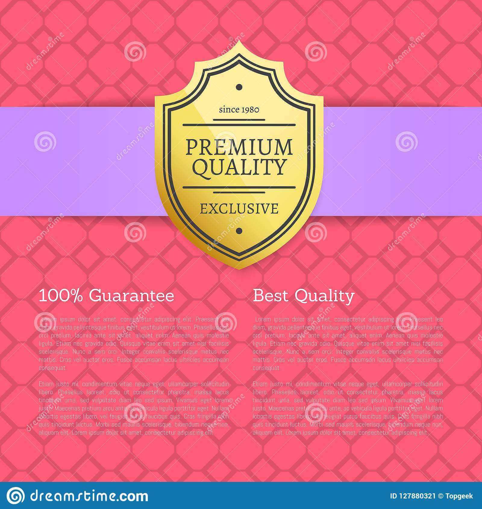 Quality award premium brand 100 seal golden label with text samples warranty sticker with metal guarantee medal isolated vector poster