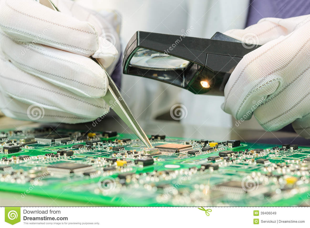 quality control of electronic components on pcb stock photo