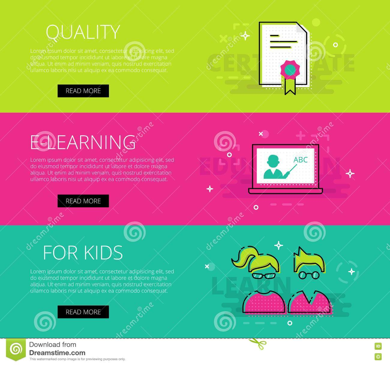 Quality E-learning For Kids. Vector Banners Template Set Stock ...