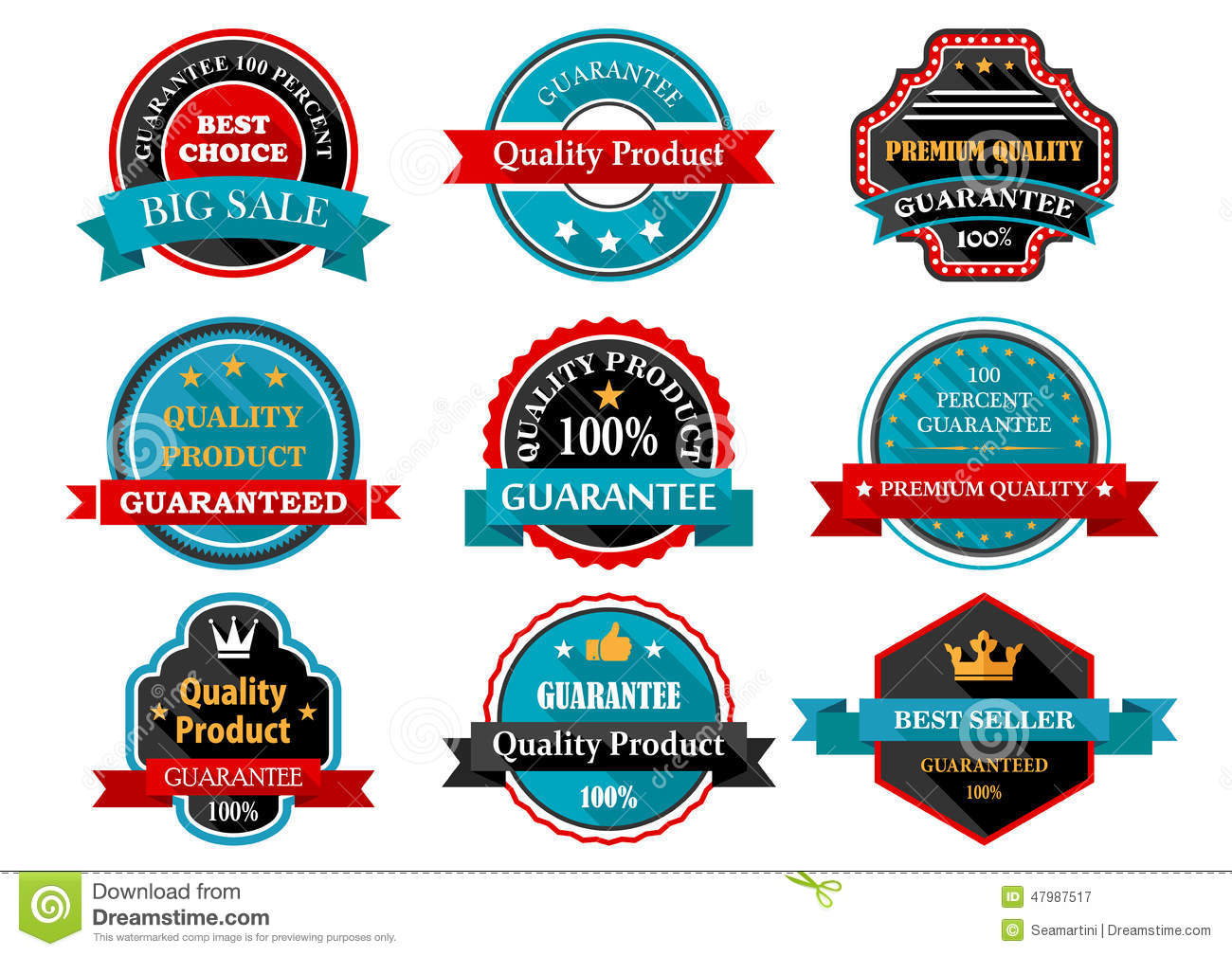 Quality guarantee retro labels collection stock vector