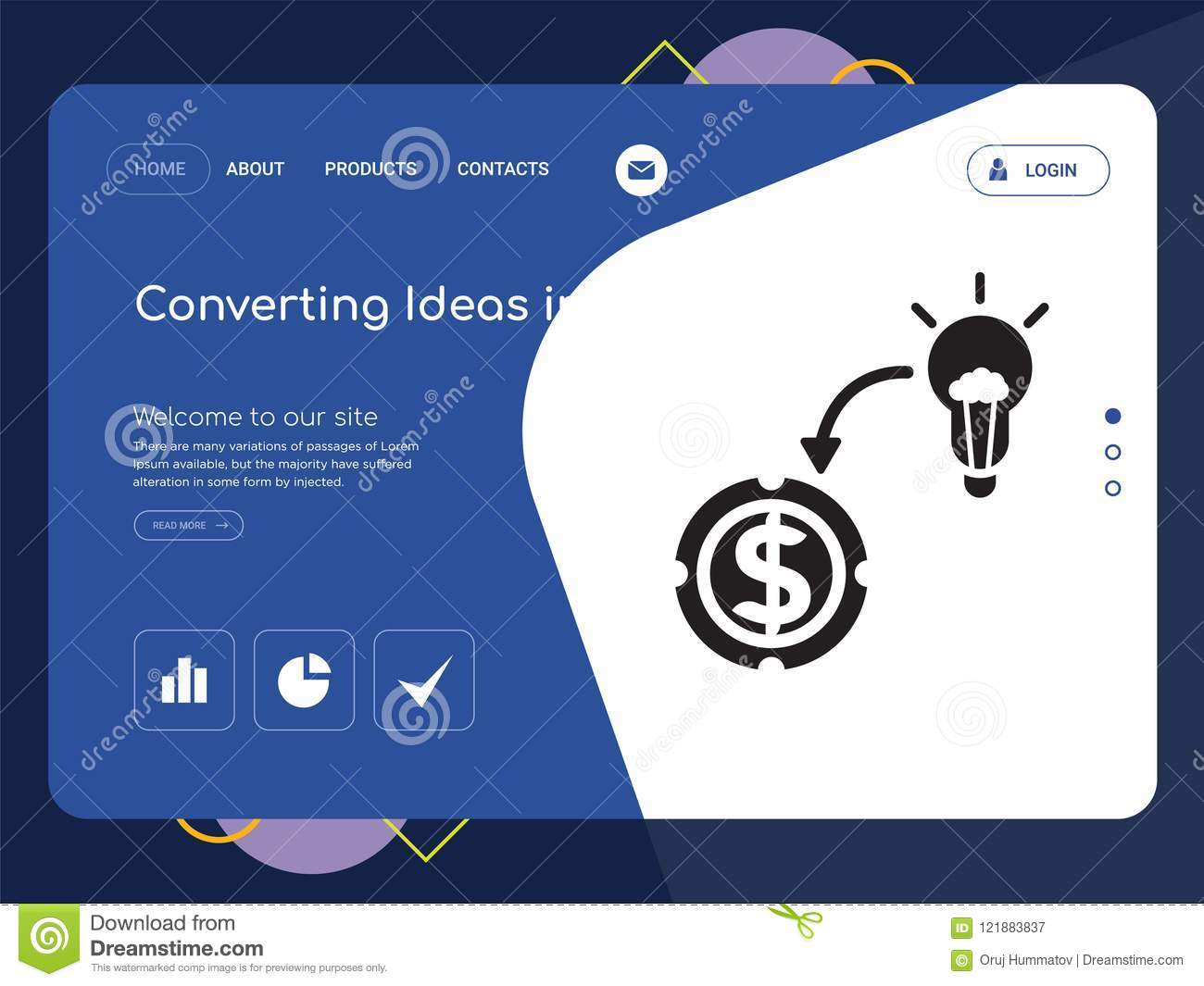 Converting Ideas In Money Website Template Vector, Modern