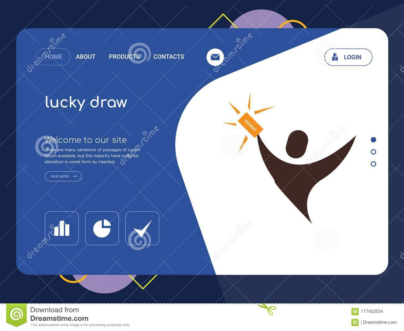 Lucky Draw Landing Page Website Template Design Stock Illustration