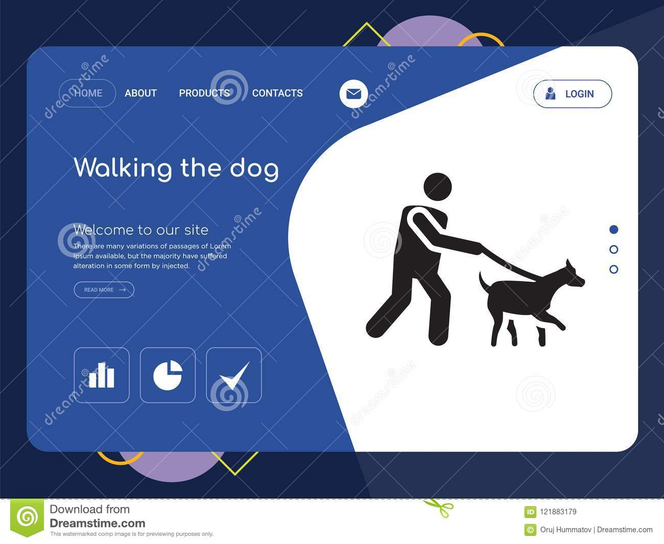 Walking The Dog Website Template Vector Modern Web Design With Landscape Illustration Ideal For Landing Page Pixel Perfect Icon